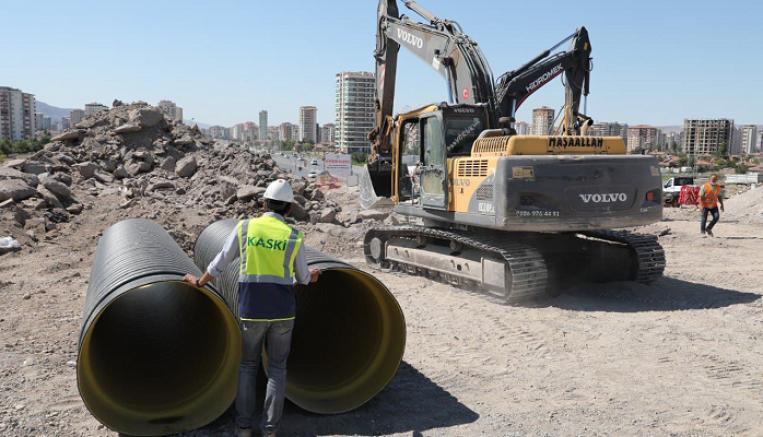 Kaski'den Hulusi Akar bulvarı'na 1 milyonluk kanalizasyon kolektör hattı çalışması