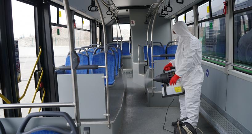 Ulaşım A.Ş toplu taşıma araçlarını 100 bin kez dezenfekte yaptı
